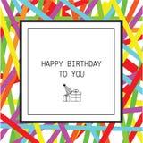 Hälsningkort för lycklig födelsedag med band och linjen symboler vektor illustrationer