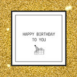 Hälsningkort för lycklig födelsedag med band och linjen symboler Arkivbild