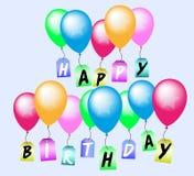 Hälsningkort för lycklig födelsedag med färgrika ballonger Arkivfoto
