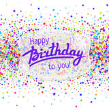 Hälsningkort för lycklig födelsedag med konfettier Royaltyfri Bild