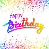 Hälsningkort för lycklig födelsedag med konfettier Royaltyfria Bilder