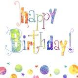 Hälsningkort för lycklig födelsedag med text, droppar och stjärnor i ljusa färger Innehåller genomskinliga objekt Arkivfoto