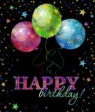 Hälsningkort för lycklig födelsedag med text, droppar och stjärnor i ljusa färger Innehåller genomskinliga objekt Fotografering för Bildbyråer