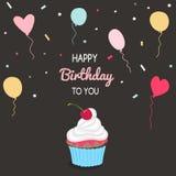 Hälsningkort för lycklig födelsedag och partiinbjudanmall Arkivfoton