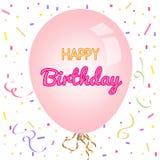 Hälsningkort för lycklig födelsedag och partiinbjudanmall Fotografering för Bildbyråer