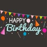 Hälsningkort för lycklig födelsedag och partiinbjudanmall Arkivbild