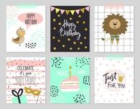 Hälsningkort för lycklig födelsedag och partiinbjudanmallar, illustration Hand dragen stil stock illustrationer