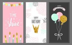 Hälsningkort för lycklig födelsedag och partiinbjudanmallar, illustration Hand dragen stil royaltyfri illustrationer
