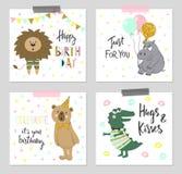 Hälsningkort för lycklig födelsedag och partiinbjudanmallar med gulliga djur vektor illustrationer