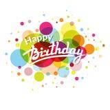 Hälsningkort för lycklig födelsedag på färgrik baksida med cirklar Arkivbild