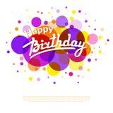 Hälsningkort för lycklig födelsedag på färgrik baksida med cirklar Fotografering för Bildbyråer