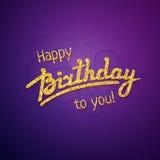 Hälsningkort för lycklig födelsedag på lilor Fotografering för Bildbyråer