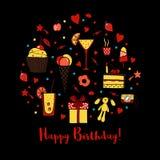 Hälsningkort för lycklig födelsedag på svart bakgrund Royaltyfria Foton