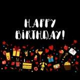 Hälsningkort för lycklig födelsedag på svart bakgrund Arkivfoto