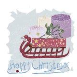 Hälsningkort för lycklig jul Arkivbild