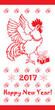 2017 hälsningkort för lyckligt nytt år året av den röda tuppen Arkivbilder