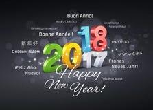 Hälsningkort 2018 för lyckligt nytt år Arkivbild