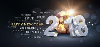 Hälsningkort 2018 för lyckligt nytt år Arkivbilder
