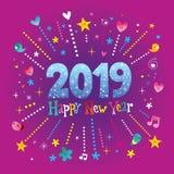 Hälsningkort 2019 för lyckligt nytt år