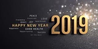 Hälsningkort 2019 för lyckligt nytt år royaltyfri illustrationer
