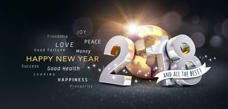 Hälsningkort 2018 för lyckligt nytt år för all bästa Royaltyfri Bild