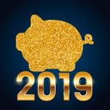 2019 hälsningkort för lyckligt nytt år Blå bakgrund för beröm med det guld- svinet och ställe för din text också vektor för corel stock illustrationer