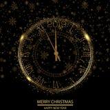 Hälsningkort för lyckligt nytt år eller julmed den guld- klockan vektor vektor illustrationer