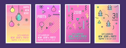 Hälsningkort 2018 för lyckligt nytt år i moderiktigt vektor illustrationer