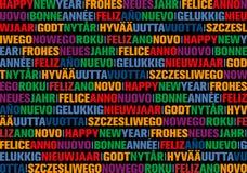 Hälsningkort för lyckligt nytt år i olika språk fotografering för bildbyråer