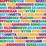 Hälsningkort för lyckligt nytt år i olika språk royaltyfria foton