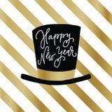 Hälsningkort för lyckligt nytt år, inbjudan Partihatt med bokstavsmarkerad text för hand över vita och guld- band Beröm royaltyfri illustrationer