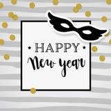 Hälsningkort för lyckligt nytt år, inbjudan Partimodellplats royaltyfri illustrationer