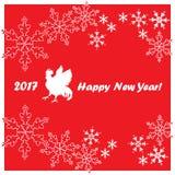 2017 hälsningkort för lyckligt nytt år Kinesiskt nytt år av den röda tuppen Royaltyfria Foton