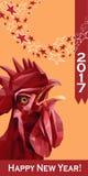 2017 hälsningkort för lyckligt nytt år Kinesiskt nytt år av den röda tuppen Royaltyfri Fotografi
