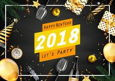 Hälsningkort 2018 för lyckligt nytt år med beståndsdelar Royaltyfria Bilder