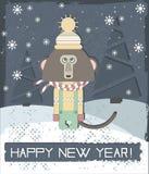 Hälsningkort för lyckligt nytt år med den stilfulla apan Arkivfoton