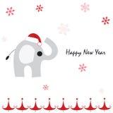 Hälsningkort för lyckligt nytt år med elefanten och snöflingor Fotografering för Bildbyråer