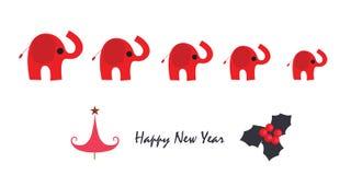 Hälsningkort för lyckligt nytt år med elefanten och snöflingor Arkivfoton