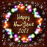 Hälsningkort för lyckligt nytt år med gratulationerlyckönskan Påse för vektorjultomtengåva och hatt, tumvanten, jul som lagerför, vektor illustrationer