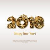 Hälsningkort 2018 för lyckligt nytt år med guld- nummer Glödande bakgrund för abstrakt ferie vektor illustrationer