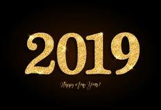 Hälsningkort 2019 för lyckligt nytt år med guld på svart bakgrund royaltyfri foto