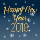 Hälsningkort 2018 för lyckligt nytt år med guld- text Royaltyfria Foton
