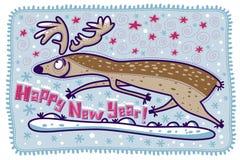 Hälsningkort för lyckligt nytt år med renen Royaltyfria Bilder