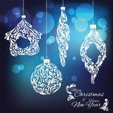 Hälsningkort för lyckligt nytt år och jul Royaltyfria Bilder