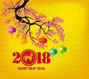 Hälsningkort 2018 för lyckligt nytt år och kinesiskt nytt år av hunden royaltyfri fotografi