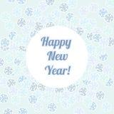 Hälsningkort för lyckligt nytt år, snöflingabakgrund Arkivbild