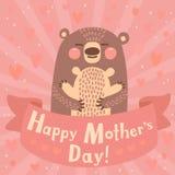 Hälsningkort för mamma med den gulliga björnen. Fotografering för Bildbyråer