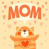 Hälsningkort för mamma med den gulliga kattungen. vektor illustrationer