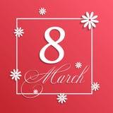 Hälsningkort för mars 8 Bakgrundsmall för internationell kvinnas dag Royaltyfri Bild