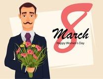 8 hälsningkort för mars Kort för hälsning för dag för kvinna` s Stilig gentleman i dräkt med den hållande buketten för mustasch a royaltyfri illustrationer